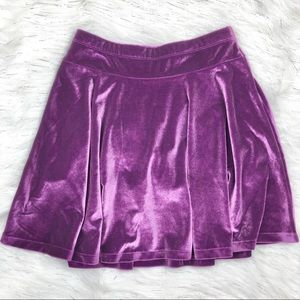 Lands' End Purple Velvet Skirt with Shorts Medium